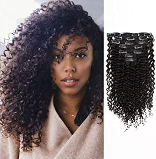 AmazingBeauty Double Weft Clip In Human Hair Extensions 3B 3C Afro Jerry Curl 8A Grade Thick 100% Remy Hair Natural Black 10-22inch 7 Pieces with 18 Clips 120g/4.2oz per Set Fit For Full Head 22 inch