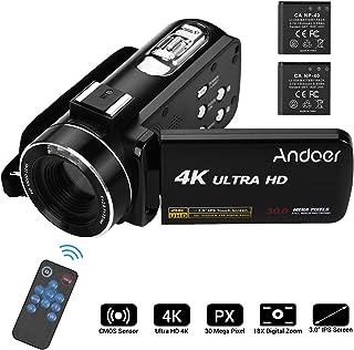 كاميرا فيديو 4K، كاميرا فيديو بدقة 4K، كاميرا فيديو رقمية احترافية فائقة الدقة من أندور مع جهاز هوت شو لتثبيت ميكروفون 3.0 بوصة اي بي اس مع خاصية إطلاق النار ضد الاهتزاز