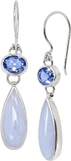 Silpada 'Paradise Found' 13 3/4 ct Natural Blue Lace Agate and Quartz Drop Earrings in Sterling Silver