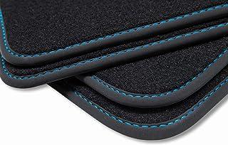 teileplus24 V261 Velours Fußmatten, passgenaue Fertigung, Trittschutz auf der Fahrer Fußmatte, Nubuk Bandeinfassung, Ziernähte, Naht:Blau
