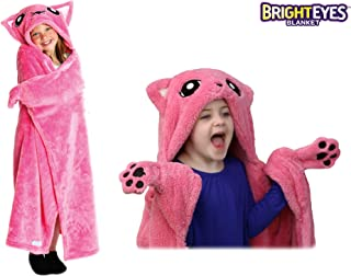 Bright Eyes Blanket - Super Soft Blanket for Kids - Hooded, Blanket, Robe - Comfy Throw Blanket, Pink Kitty; Warm Fuzzy Blanket, Stuffed Animal Blanket - Machine Washable - Perfect for Sleepovers!