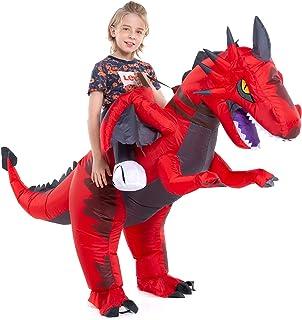 Inflatable Dragon Costume Kids Boys Girls, Inflatable Blow Up Costume Riding Dragon Costume Child, Inflatable Ride On Drag...