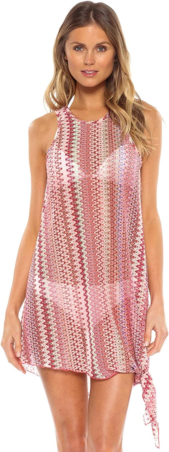 Becca by Rebecca Virtue Women's Pierside Knot Tie Side MiniDress Swim Cover Up