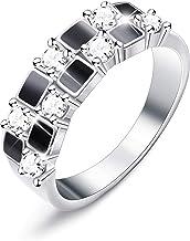 sailimue Cobre Plateado Plata Anillo para Mujer Chicas Mosaico Boda Compromiso Aniversario Casarse Regalo Anillo Tamaño 9-22