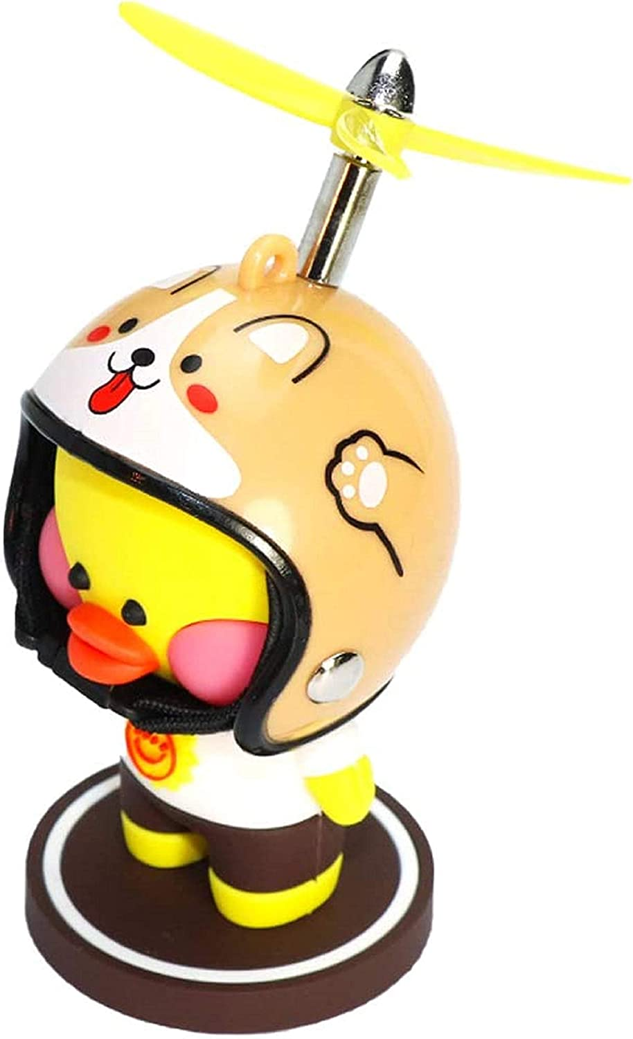 ZHB Yellow Rubber Duck Toy with Propeller Helmet Kids Hyaluronic Acid Duck Car Ornaments Car Dashboard Decorations for Adults Dog