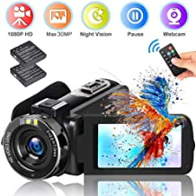 "Video Camera Camcorder ifmeyasi 2020 Upgraded FHD 1080P 30MP Vlogging Camera For YouTube 18X Digital Zoom 3.0"" LCD 270 Degree Flip Screen With 2 Batteries"