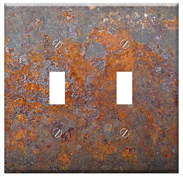 Switch Plate Double Toggle Rust Metal Steel Old Grunge Texture Iron