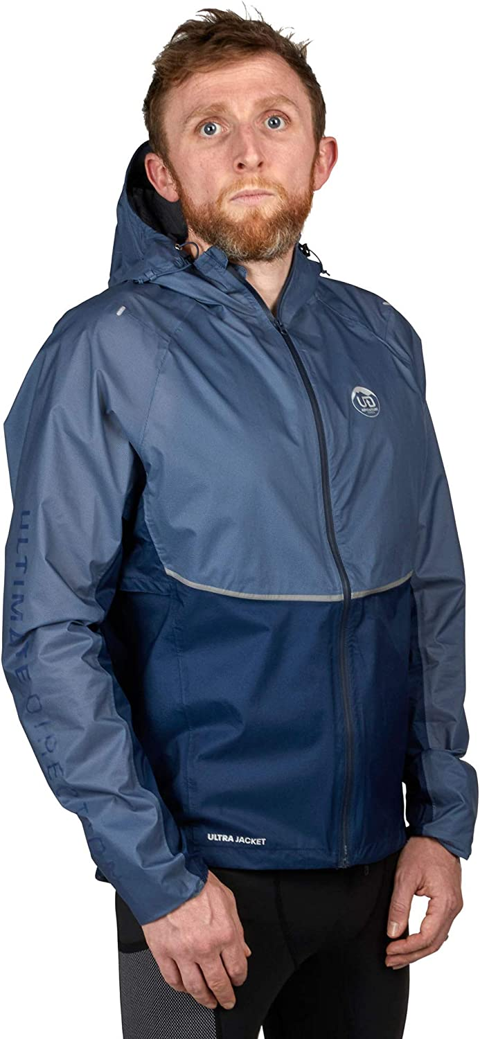 Ultimate Direction Men's Breathable, Hooded, Waterproof Running Ultra Jacket for Rain, Wind and Cold Conditions - Packs Down