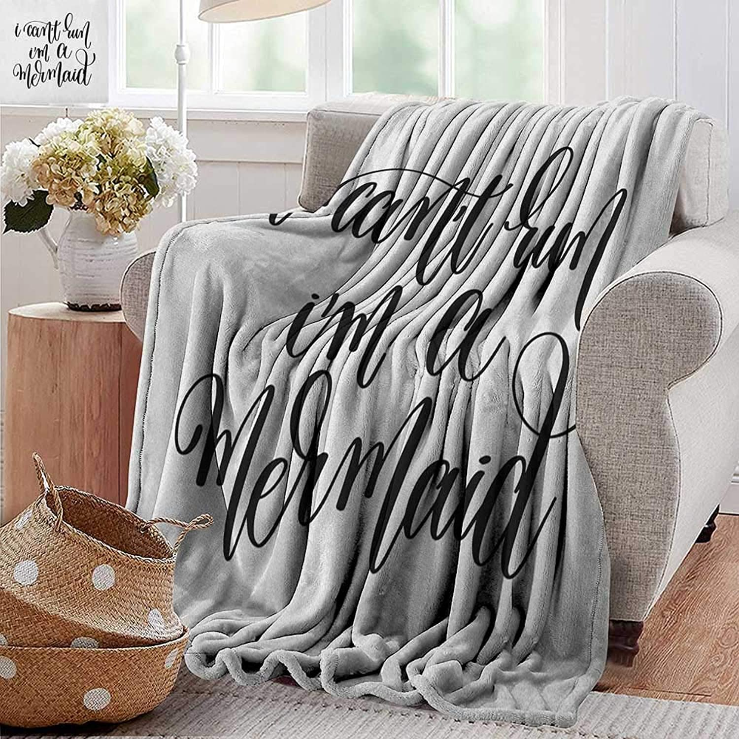 XavieraDoherty Printed Blanket,Im Mermaid,Saying in Relation to Mythical Beings Awe Inspiring Girl Aspirations Lettering, Black White,300GSM,Super Soft and Warm,Durable Throw Blanket 35 x60