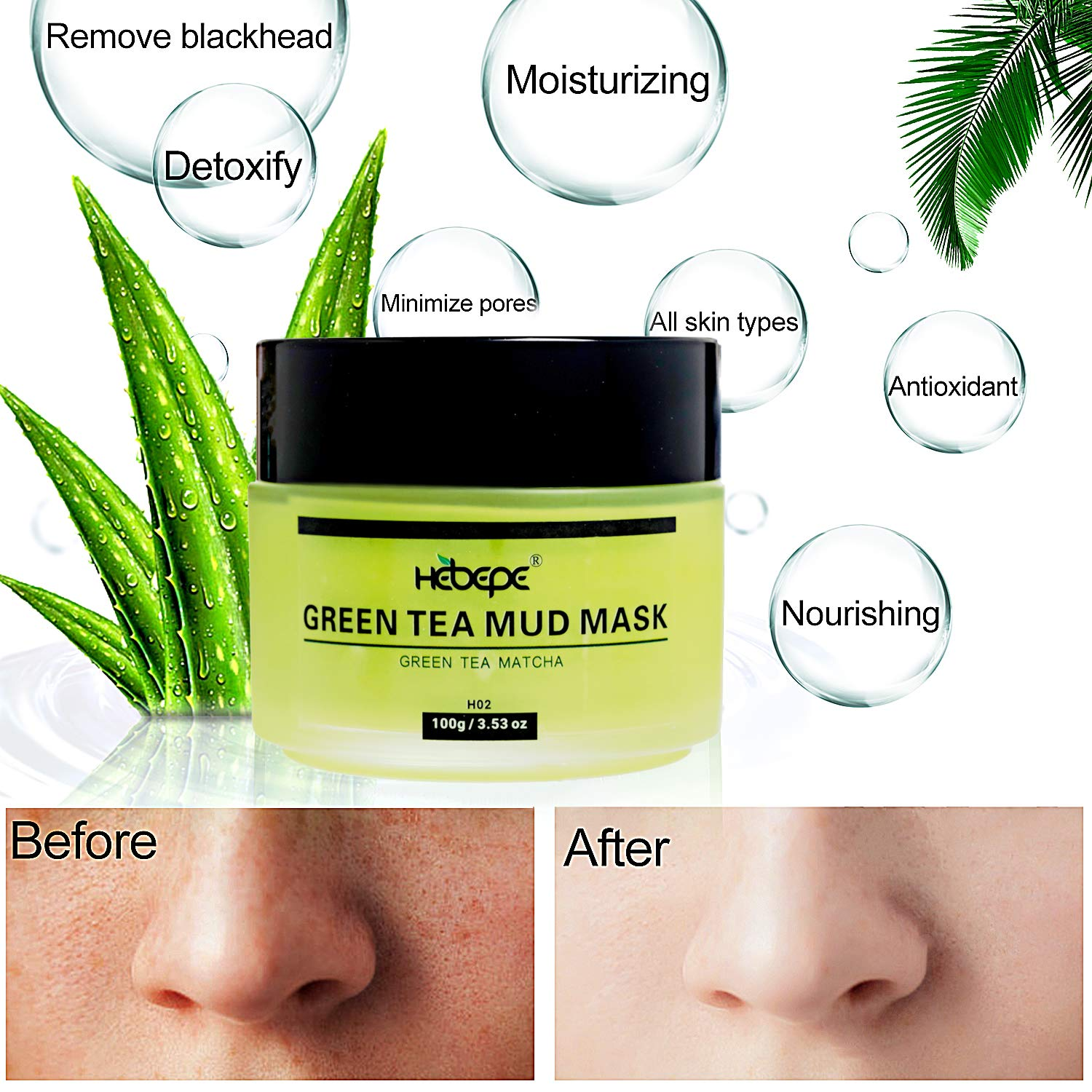 Hebepe Matcha Green Tea Facial Detox Mud Mask with Aloe Vera, Deep Cleaning, Hydrating, Detoxing, Healing, and Relaxing Volcanic Clay Facial Mask : Beauty & Personal Care
