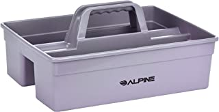 Alpine Industries 3-Compartment Plastic Cleaning Caddy – Commercial Quality Plastic Tool Organizer w/Handle for Cleaning Bathroom Floors & Windows (Small)