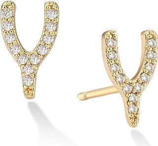 MEVECCO 14K Gold Plated Lightweight Chunky Open Hoop Stud Earrings Cute Flower Claw Minimalist Stud Earrings for Women