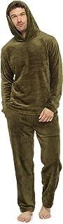CityComfort Mens Fleece Pyjamas Sets, Fluffy Loungewear with Hood, Long Cosy PJs