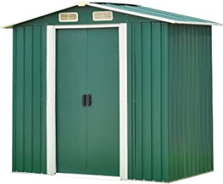 4FT X 6FT SteelStorage Shed, Utility Toolshed Storage Kit for Outdoor Garden Backyard Green (4'x6' Storage Shed)