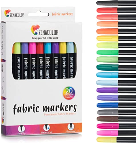 Zenacolor 20 Fabric Markers Pens Set - Non Toxic, Indelible and Permanent Fabric Paint Fine Point Textile Marker Pen ...