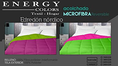 Energy Colors Textil - Hogar - Tokio - Relleno Nórdico 350 gr Reversible Liso Tacto Plumón Microfibra Otoño - Invierno (Morado, Cama 90 (150 x 220 cm))