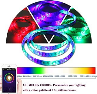 LEIMI Wifi Smart Led Strip Lights ,Wifi SmartPhone Controlled, RGB Under cabinet Lights,Christmas Lights Strip,No Hub Require,6.6 Ft,60 Leds,SMD5050,Waterproof IP65,Adhesive Back,Compatible with Alexa