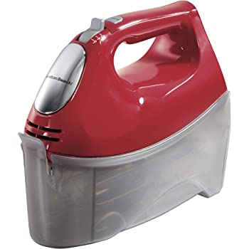 Hamilton Beach 6-Speed Electric Hand Mixer with 5 Attachments (Beaters, Dough Hooks, and Whisk), Snap-On Case, Red (62633R)