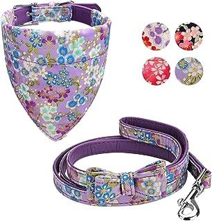 Vaburs Dog Collar Dog Bandana and Dog Leash Set Adjustable Fancy Dog Collar with Bandana and Leash for Small Medium Large Dogs, Pattern Printing