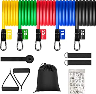 Exercise Bands Set - with 5 Resistance Bands up to 100 lbs, Door Anchor, Handles, Waterproof Carry Bag, Legs Ankle Straps - for Resistance Training, Physical Therapy, Home Workouts