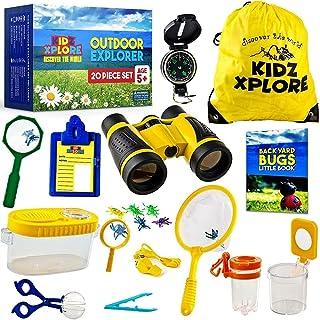 WQinyu Children's outdoor adventure set, children's binoculars, compass, whistle, magnifying glass, is the best gift for b...