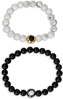 Circle Infinity Couples Stretch Long Distance Relationship Bracelet in Onyx, Howlite and Hematite for His and Hers Matching Women and Men Jewelry