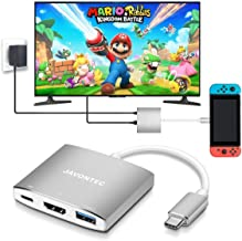 USB C to HDMI Hub Dock for Nintendo Switch, JAVONTEC USB Type C HDMI Adapter Converter with 4K HDMI, USB 3.0, Power Delivery Compatible with MacBook Pro, HP Spectre, Samsung S8/Note 8, Silver