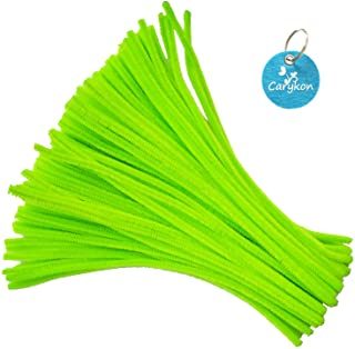 Carykon 100 Pieces Fuzzy Chenille Stems Pipe Cleaners for Arts and Crafts (Light Green)
