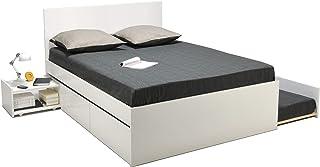 Weber Industries ALPHA Lit + tiroir lit + 2 tiroirs de rangement + chevet, Blanc