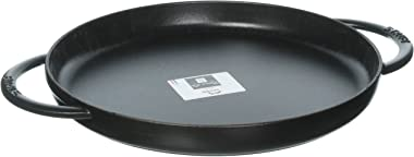"STAUB Round Double Handle Pure Griddle, 12"", Matte Black"
