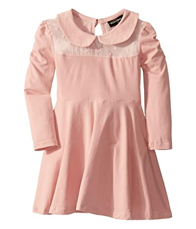 Rock Your Baby Gathered Long Sleeve Waisted Dress (Toddler/Little Kids/Big Kids) (Pastel Pink) Girl