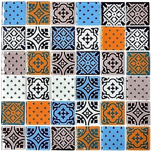Retro Vintage Mosaik Fliese Transluzent weiß blau orange grau Glasmosaik Crystal Optik für WAND BAD WC DUSCHE KÜCHE FLIESENSPIEGEL THEKENVERKLEIDUNG BADEWANNENVERKLEIDUNG Mosaikmatte Mosaikplatte