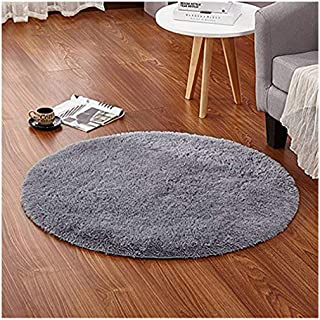 LOCHAS Round Area Rugs Super Soft Living Room Bedroom Home Shaggy Carpet 4-Feet (Gray)