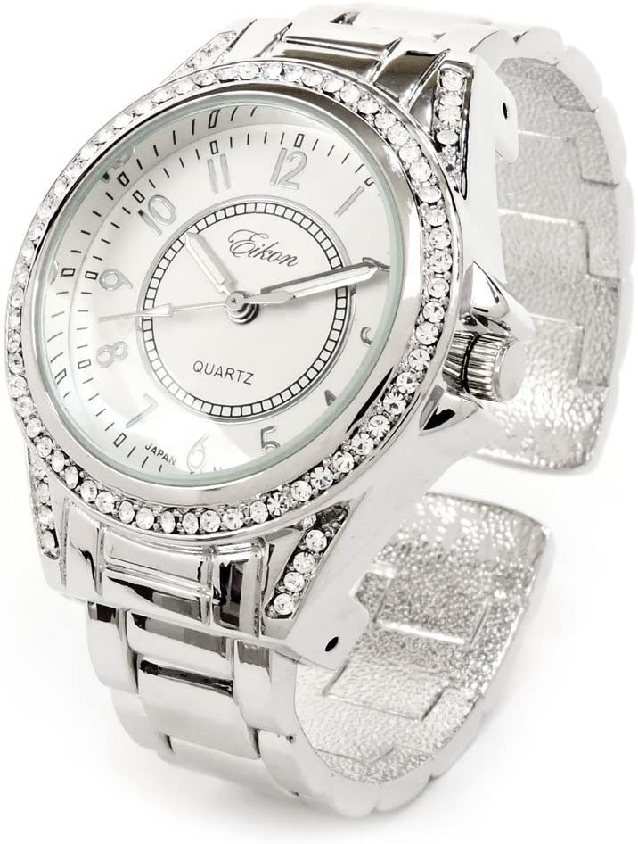 Silver Tone Crystal Bezel Iced Out Ladies Sta Watch Ranking TOP20 Los Angeles Mall Quartz Wrist