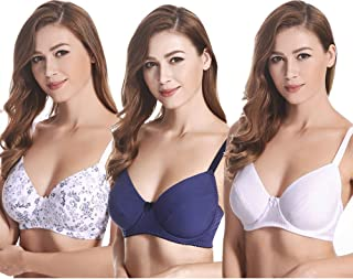 Women's Plus Size Cotton Unlined Balconette Underwire Bras-3 Pack