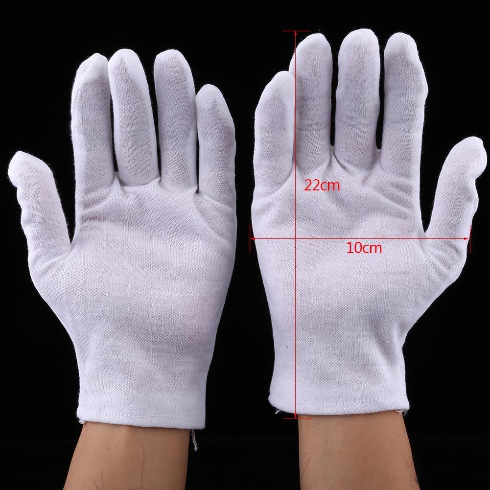 12 pares prácticos guantes de algodón blanco, guantes de trabajo ...