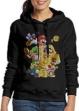 FUOCGH Women's Pullover Super Mario Coin Hoodie Sweatshirts Black