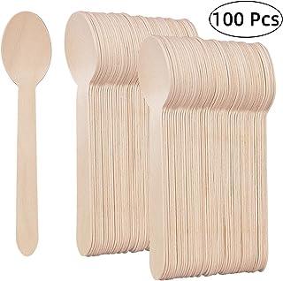 ANBET Paquete de 100 cucharas de Madera Desechables, Cuchillos, Tenedores Cubiertos Utensilios biodegradables ecológicos, Ideales para Fiestas, Helados, Pasteles