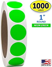 "1"" Neon Green Round Color Coding Circle Dot Labels on a Roll, 1000 Stickers, 1 inch Diameter."
