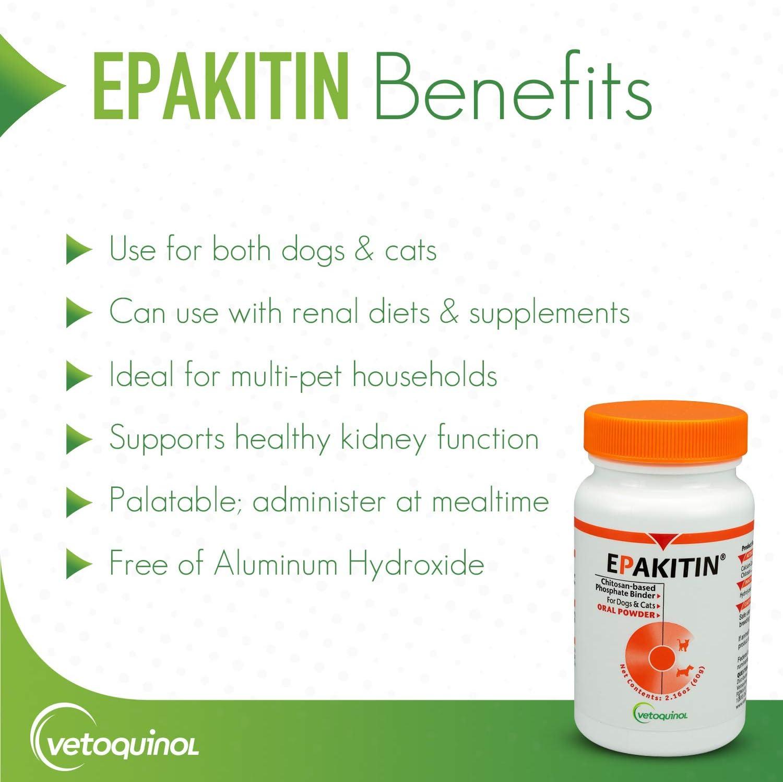 Vetoquinol Epakitin Chitosin-Based Phosphate Binder for Cats & Dogs – Renal Support Supplement Powder, 6.3oz (180gm) : Pet Supplies