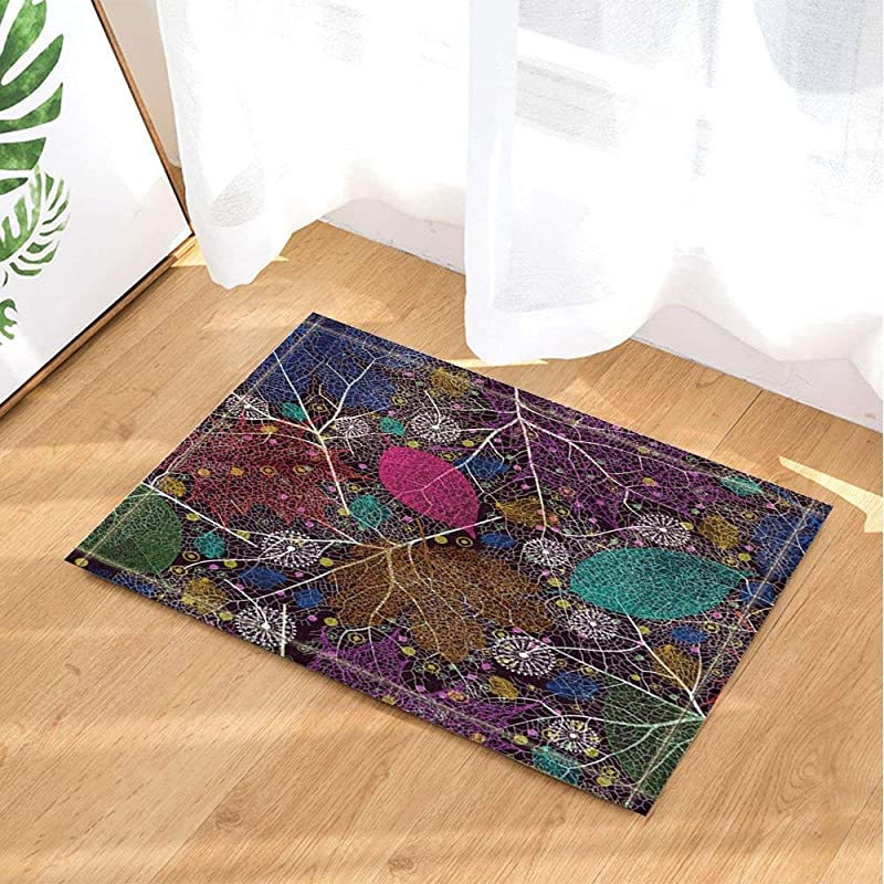 Red Brown Blue Purple Leaves Bathroom Mat Right Angle Non Slip Door Pad Children 40X60CM