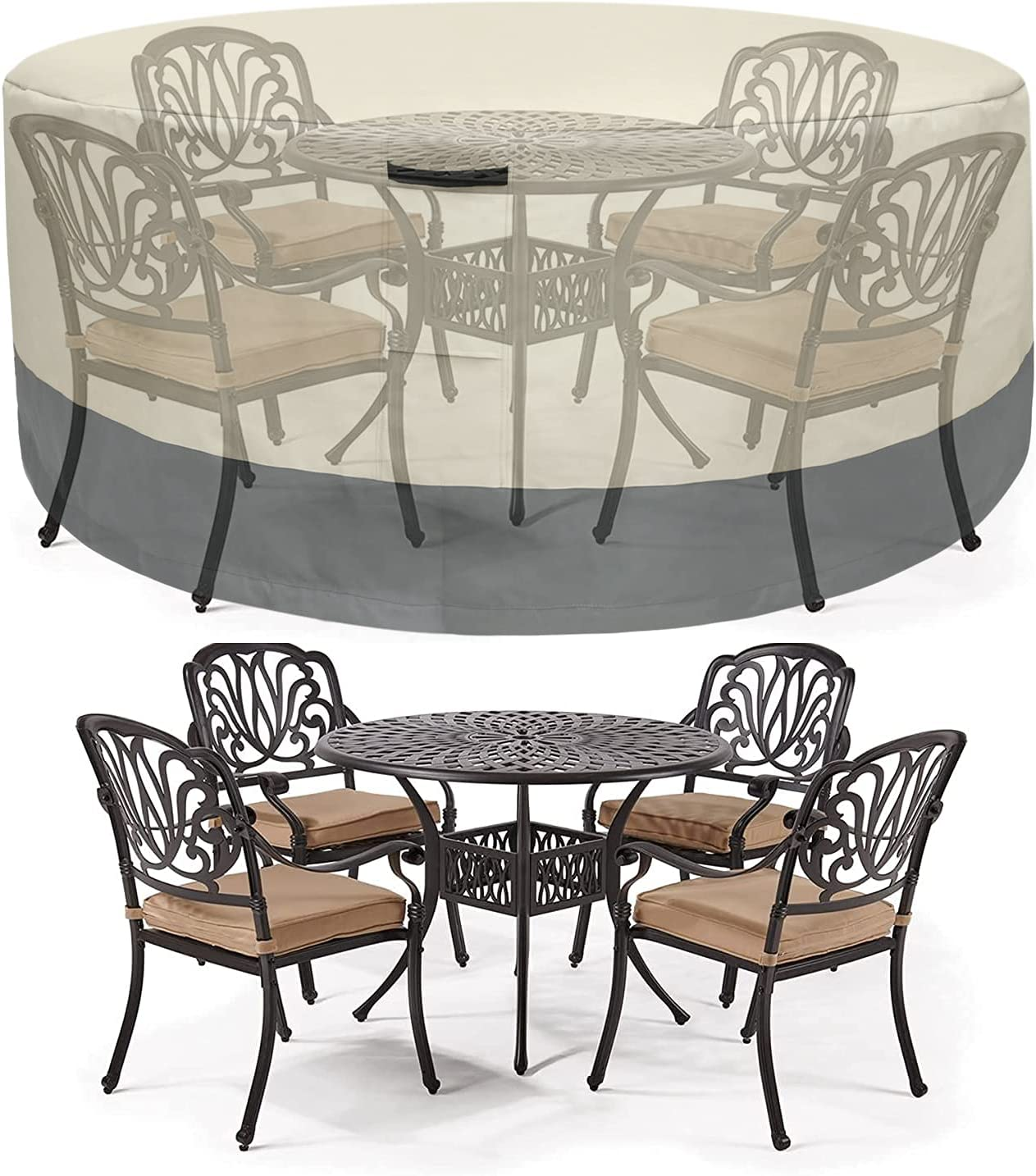 Ysding Upgraded Patio Furniture Set Cover(62″X27.8″),Outdoor Lawn Furniture Set Covers Waterproof, Rain Snow Dust Wind-Proof, Anti-UV,600D Oxford Cloth Durable Round Patio Table and Chair Cover