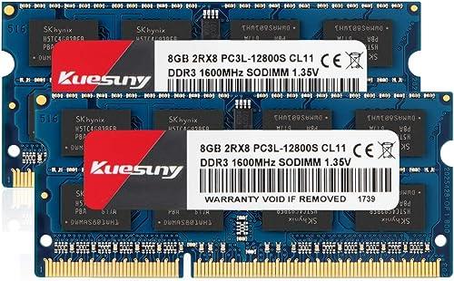 Kuesuny 16GB Kit (2x8GB) DDR3L 1600MHz PC3-12800 Unbuffered Non-ECC 1.35V/1.5V CL11 2Rx8 Dual Rank 204 Pin SODIMM Ord...