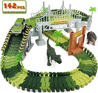 Circuit Voiture Enfant Dinosaure Flexible Tracks Car Jouet De Piste 142Pièces Cadeau Garcon Fille 3 4 5 6 Ans,Circuit Cars...