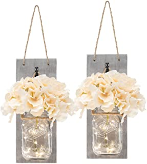 Set of Two Lighted Sconces Country Rustic Mason Jar Wall Sconce HANGING MASON JAR SCONCES..