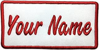 Lan Stang Custom Embroidered Name Patch Uniform Name Tag Personalized Label Iron On Sew On 2x4 inches (White)