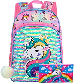 Unicorn Backpack, 16 Little Girls Sequin Preschool Bag