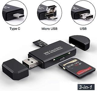 Hoonyer Lecteur de Carte Mémoire, SD/Micro SD Lecteur de Carte et Micro USB OTG à USB..