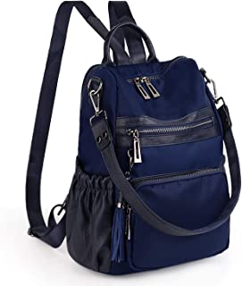 UTO Women Backpack Purse PU Leather Nylon Fabric Convertible Ladies Rucksack Lightweight Tassel Shoulder Bag Blue