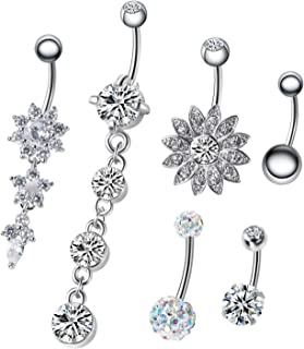 NASAMA 6PCS 14G Stainless Steel Dangle Belly Button Rings for Women Belly Piercing CZ Inlaid